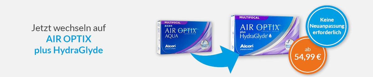 Jetzt wechslen auf die Air Optix plus Hydraglyde